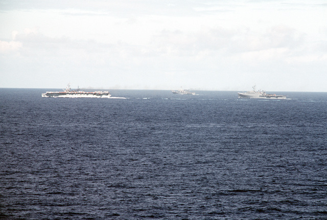 U.S. and Spanish ships cruise in formation during exercise Ocean Venture '81