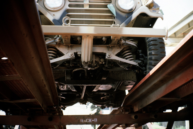 A view from underneath an M-151A1 jeep as the 2nd Force Service Support Group offloads equipment from a double decked railroad flatcar, to be placed aboard ships in support of a possible rapid deployment of a 12,000-troop Marine amphibious brigade operation
