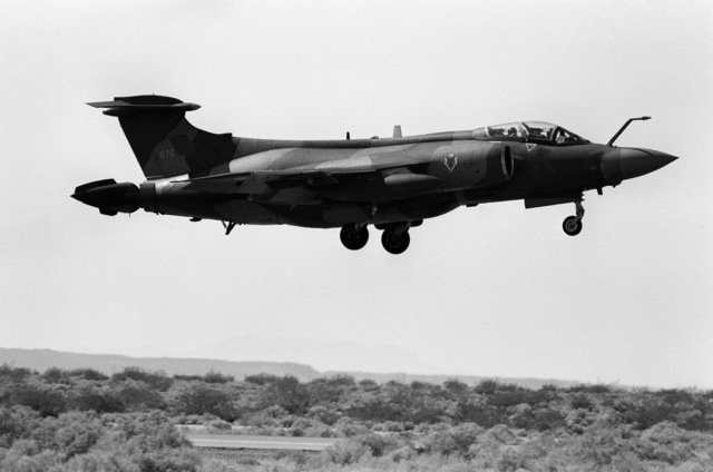 Ground-to-air right side view of a Royal Air Force Buccaneer aircraft performing touch and go operations during Test and Evaluation Squadron Five's (VX-5) airshow