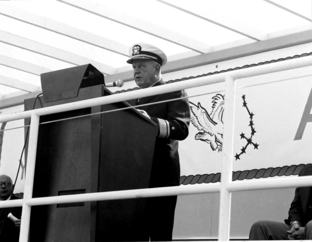 RDML John D. Bulkeley, president, Navy Board of Inspection and Survey, speaks at the launching of the guided missile patrol combatant (hydrofoil) AQUILA (PHM-4). The AQUILA was built by Boeing Marine Systems