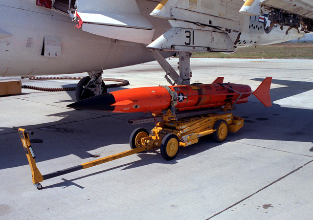 A view of an AQM-37A target before it is uploaded onto the wing of an A-6E Intruder aircraft, at the Pacific Missile Test Center Range