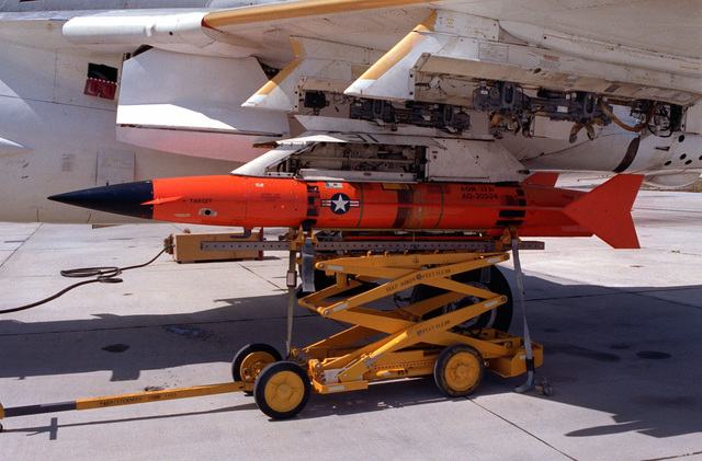 A view of an AQM-37A target mounted onto the wing of an A-6E Intruder aircraft, at the Pacific Missile Test Center