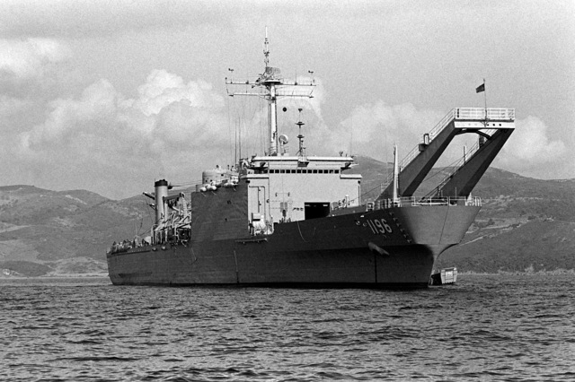 A starboard view of the tank landing ship USS HARLAN COUNTY (LST-1196) during the NATO exercise Display Determination '81