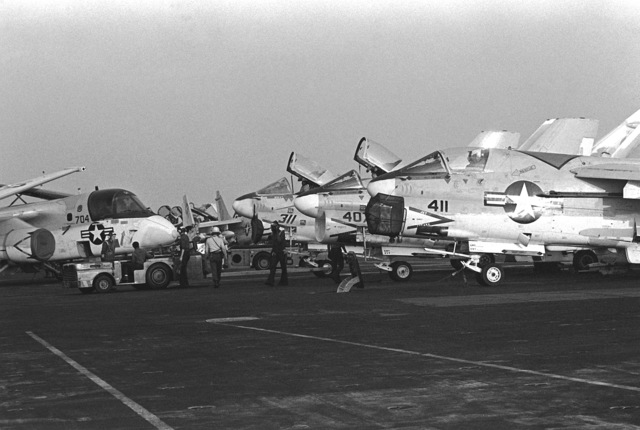 Parked A-7 Corsair II aircraft aboard the nuclear-powered aircraft carrier USS NIMITZ (CVN-68) during the NATO exercise Display Determination '81