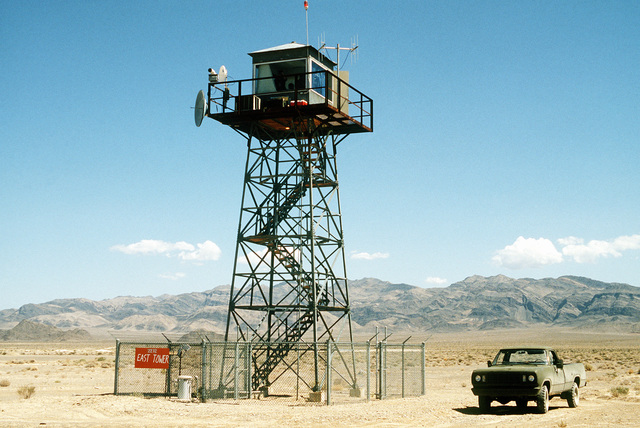 A view of the bombing range tower where observers relay target information back to the scoring team on the main base during Operation Gunsmoke '81
