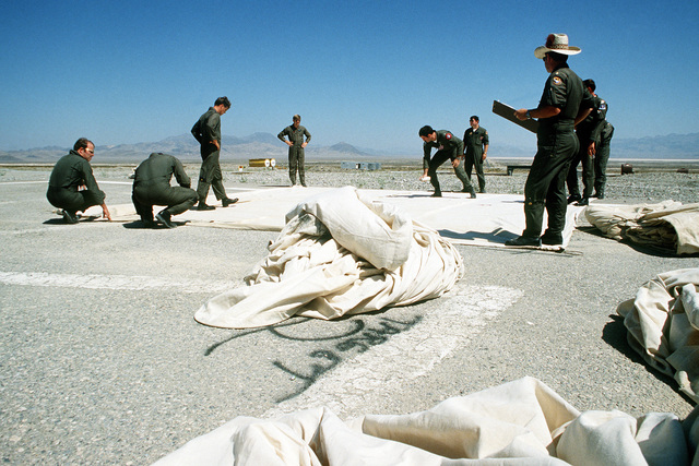 Crewmen at the bombing range tear down and reconstruct targets during Operation Gunsmoke '81
