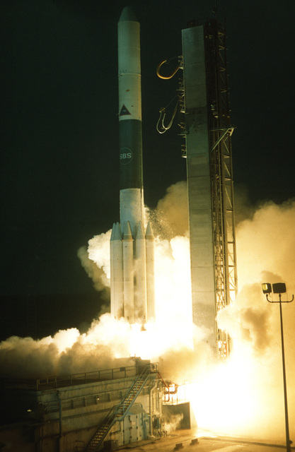 Lift-off of an SBS-B, satellite business system, aboard the Delta 156 launch vehicle from Complex 17