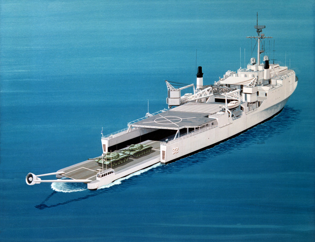 An artist's concept of a power-augmented ram landing craft (PARLAC) exiting the docking well of a dock landing ship. The port engine of the PARLAC is elevated to provide cushion lift, resulting in increased speed and shore-landing capability. The craft is presently in the testing stages of research and development