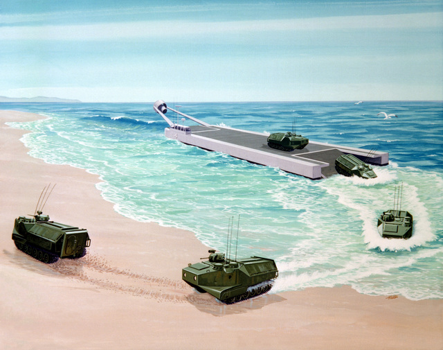 An artist's concept of a power-augmented ram landing craft (PARLAC) offloading amphibious tractors (LVT) onto a beach. The PARLAC, which has the capability of achieving high speeds and has good shore-landing capability, presently in the testing stages of research and development