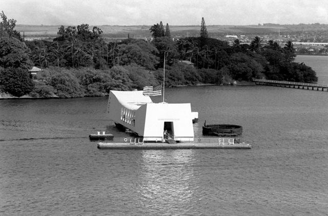 An exterior wharfside view of the USS ARIZONA MEMORIAL near Ford Island