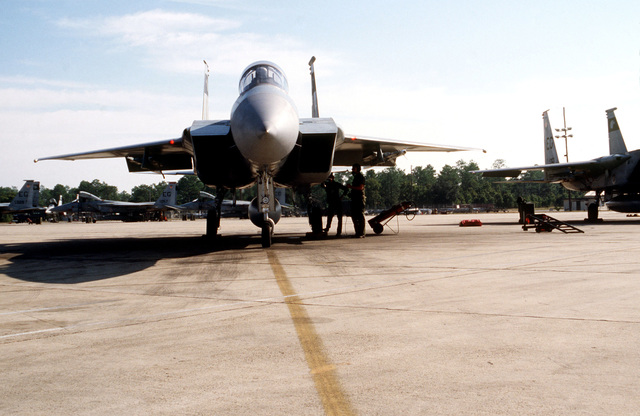 An F-15 Eagle attached to the 33rd Tactical Fighter Wing on the flight line prior to takeoff during exercise BOLD EAGLE '82