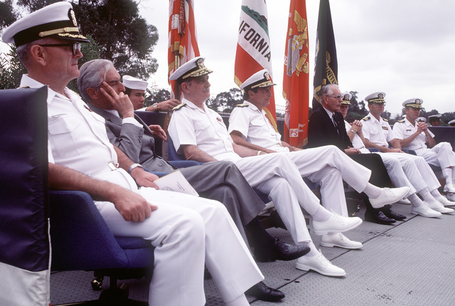 Guests attending the ground breaking ceremony for the new Naval Regional Medical Center are (L-R): CAPT. W. Begg, Chaplain Corps; former Secretary of the Navy E. Hidalgo; Vice Adm. J.W. Cox, chief, Bureau of Medicine and surgery and surgeon general of the Navy; Rear Adm. Garrick, U.S. Naval Reserve (Reg.), deputy counselor to the president and representing the secretary of the Navy; Rear Adm. P. Gillcrist, commander, Naval Base, San Diego; Cmdr. M. Hopper, officer in charge of construction, Western Division Naval Facilities Engineering Command, and Capt. C.C. Atkins, director of clinical services, Naval Regional Medical Center