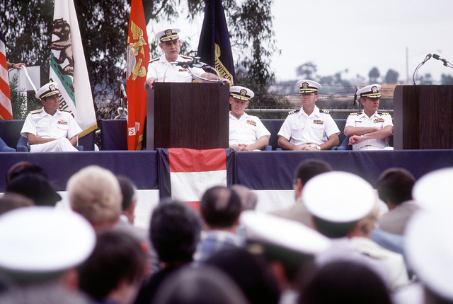 Vice Adm. J.W. Cox, chief, Bureau of Medicine and Surgery and surgeon general of the Navy, speaks during the ground breaking ceremony for the new Naval Regional Medical Center. Seated behind him are (L-R): Rear Adm. Eustine P. Rucci, commanding officer, Naval Regional Medical Center; Rear Adm. P. Gillcrist, commander, Naval Base, San Diego; Cmdr. M. Hopper, officer in charge of construction, Western Division Naval Facilities Engineering Command, and Capt. C.C. Atkins, director of clinical services, Naval Regional Medical Center