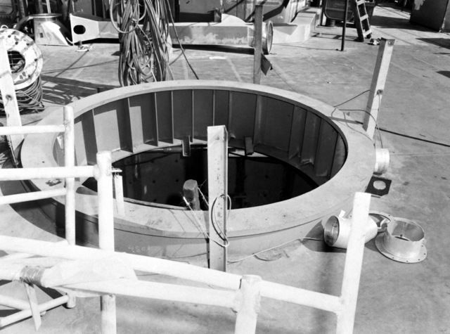 A gun mount foundation aboard the destroyer HAYLER (DD-997). The destroyer, which is being built by Ingalls Shipbuilding, is presently 40 percent complete