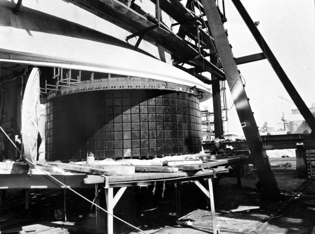 A sonar dome with transducers is installed aboard the destroyer HAYLER (DD-997). The ship, which is being built by Ingalls Shipbuilding is presently 40 percent complete