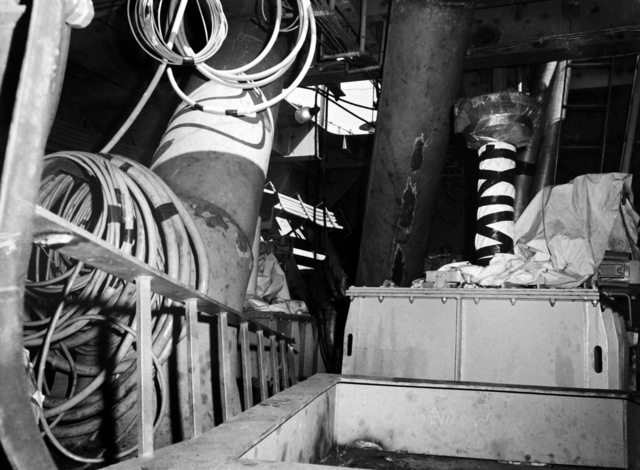 The anchor windlass room aboard the destroyer HAYLER (DD-997) at 40 percent completion. The ship is being built by Ingalls Shipbuilding