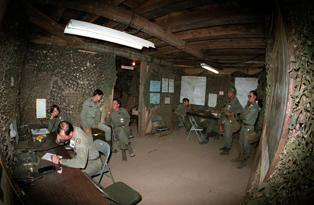 An interior view of the 2nd Brigade, 25th Infantry Division, Tactical Operation Center, located at the Pohakuloa Training Area and in use during Operation THUNDERBOLT