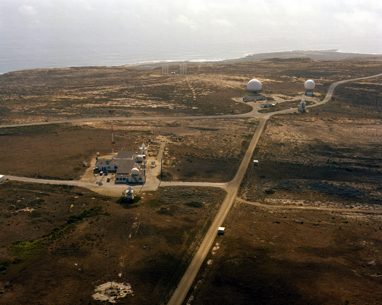 An aerial view of San Nicolas Island with FPS-16 and FPQ-10