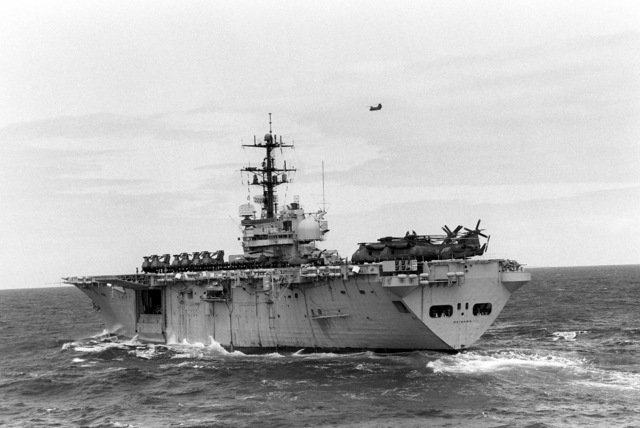 The amphibious assault ship USS OKINAWA (LPH-3) was the home of Battalion Landing Team, 2nd Battalion, 3rd Marines and Marine Medium Helicopter Squadron 262 during their part in the 31st Marine Amphibious Unit's Kangaroo 4 (1981)