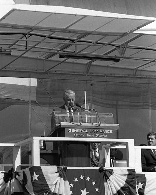 David S. Lewis, chairman of the board of General Dynamics Corp., addresses guests and spectators attending the launching ceremony for the nuclear-powered strategic missile submarine HENRY M. JACKSON (SSBN-730)