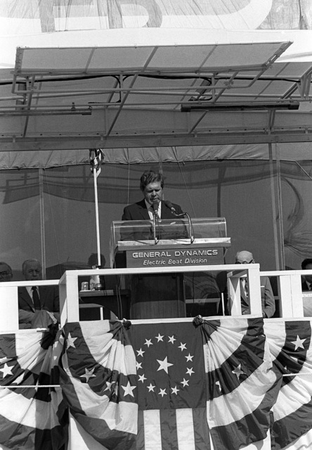 Rep. Norman D. Dicks, D-Washington, addresses guests and spectators attending the launching ceremony for the nuclear-powered strategic missile submarine HENRY M. JACKSON (SSBN-730)