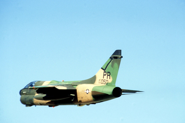 An A-7 Corsair II aircraft in flight during exercise BOLD EAGLE '82
