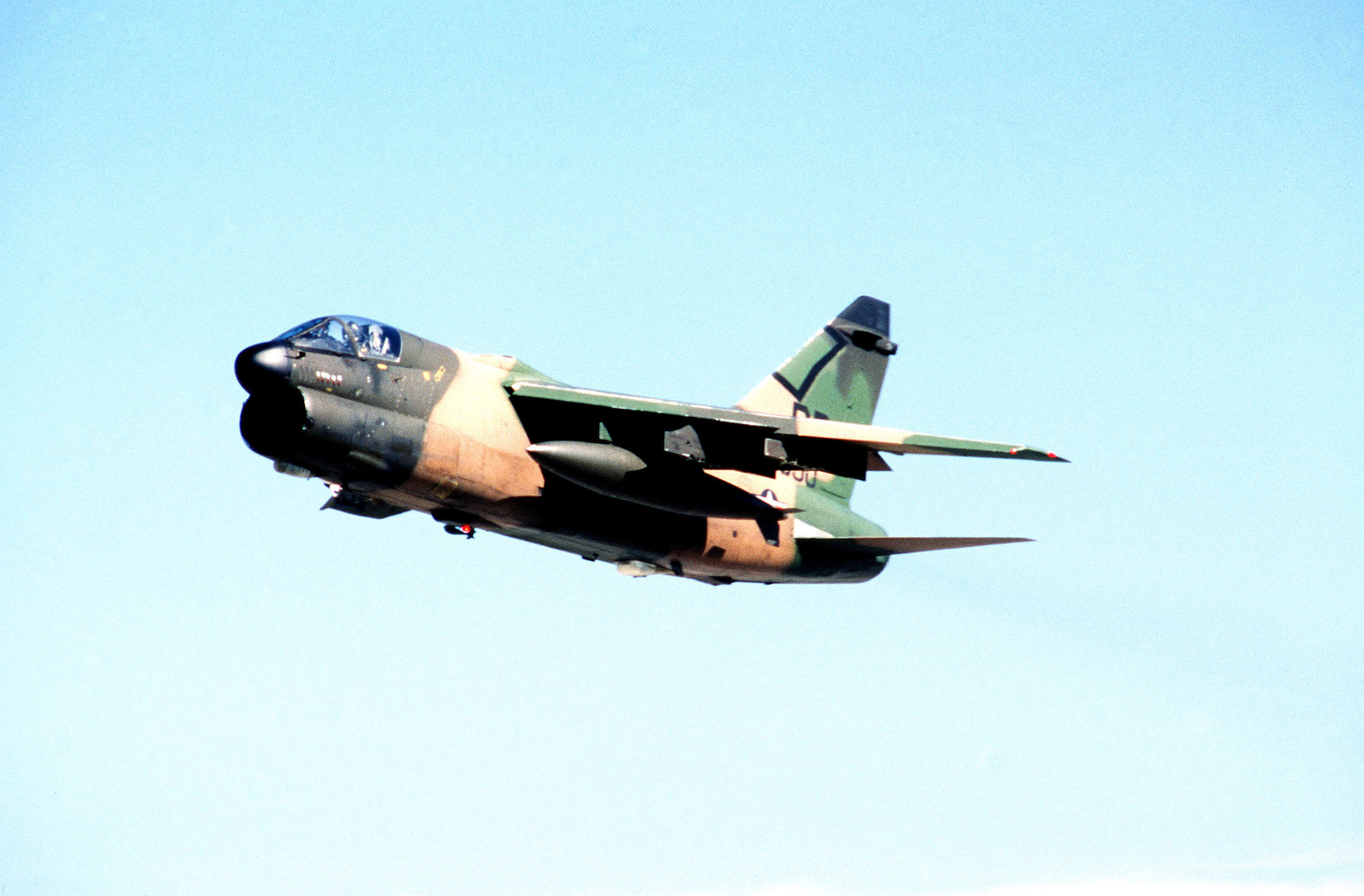 An air-to-air left front view of an A-7 Corsair II aircraft during exercise BOLD EAGLE '82