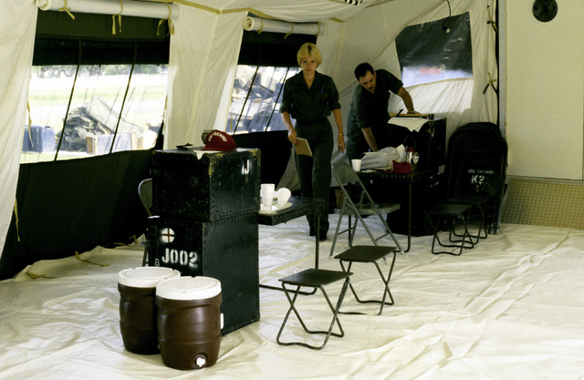 Interior view of The new TEMPER (Tent, Expandable, Modular, Personnel) tent housing Administration, Environmental Health, Veterinarian and Medical Equipment Repair services, as the 656th Tactical Hospital evaluates its new Mobile Hospital Unit
