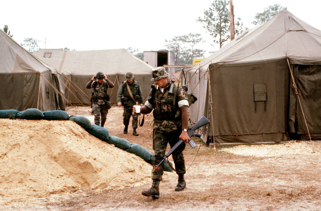 Security police leave the chow tent set up on auxiliary field 1 during exercise BOLD EAGLE '82