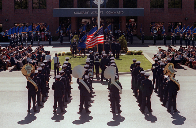 A view of the retirement ceremony for GEN Robert E. Huyser, Military Airlift commander in chief. The 528th Air Force Band performs in the foreground