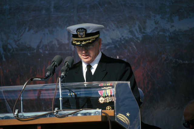 Captain (CAPT) James Richard Lang, commanding officer of the nuclear-powered attack submarine USS LA JOLLA (SSN 701), addresses guests during the ship's commissioning