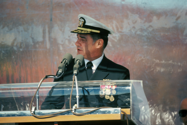 Rear Admiral Harold L. Young, supervisor, Shipbuilding, Conversion and Repair, addresses guests during the commissioning of the nuclear-powered attack submarine USS LA JOLLA (SSN 701)