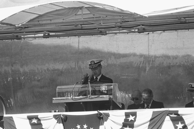 Rear Admiral Harold L. Young, supervisor, Shipbuilding, Conversion and Repair, speaks during the commissioning of the nuclear-powered attack submarine USS LA JOLLA (SSN 701)