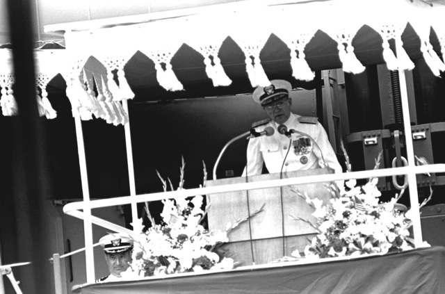 VADM John D. Johnson Jr., commander, Naval Surface Force, U.S. Atlantic Fleet, speaks during the commissioning ceremony of the guided missile destroyer USS SCOTT (DDG-995)