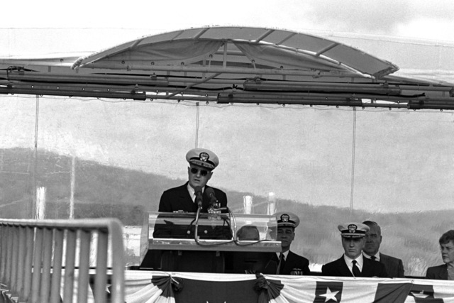 Vice Admiral (VADM) Steven A. White, commander, Submarine Force, US Atlantic Fleet, speaks during the commissioning of the nuclear-powered attack submarine USS LA JOLLA (SSN 701)
