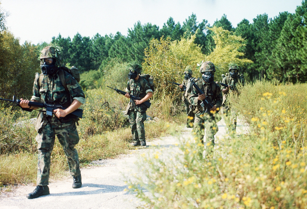 A fire team on patrol during a field exercise at Page Field, Marine Corps Recruit Depot. The Marines are wearing camouflage utilities, field protective masks, backpacks, helmets and are carrying M-16A1 rifles
