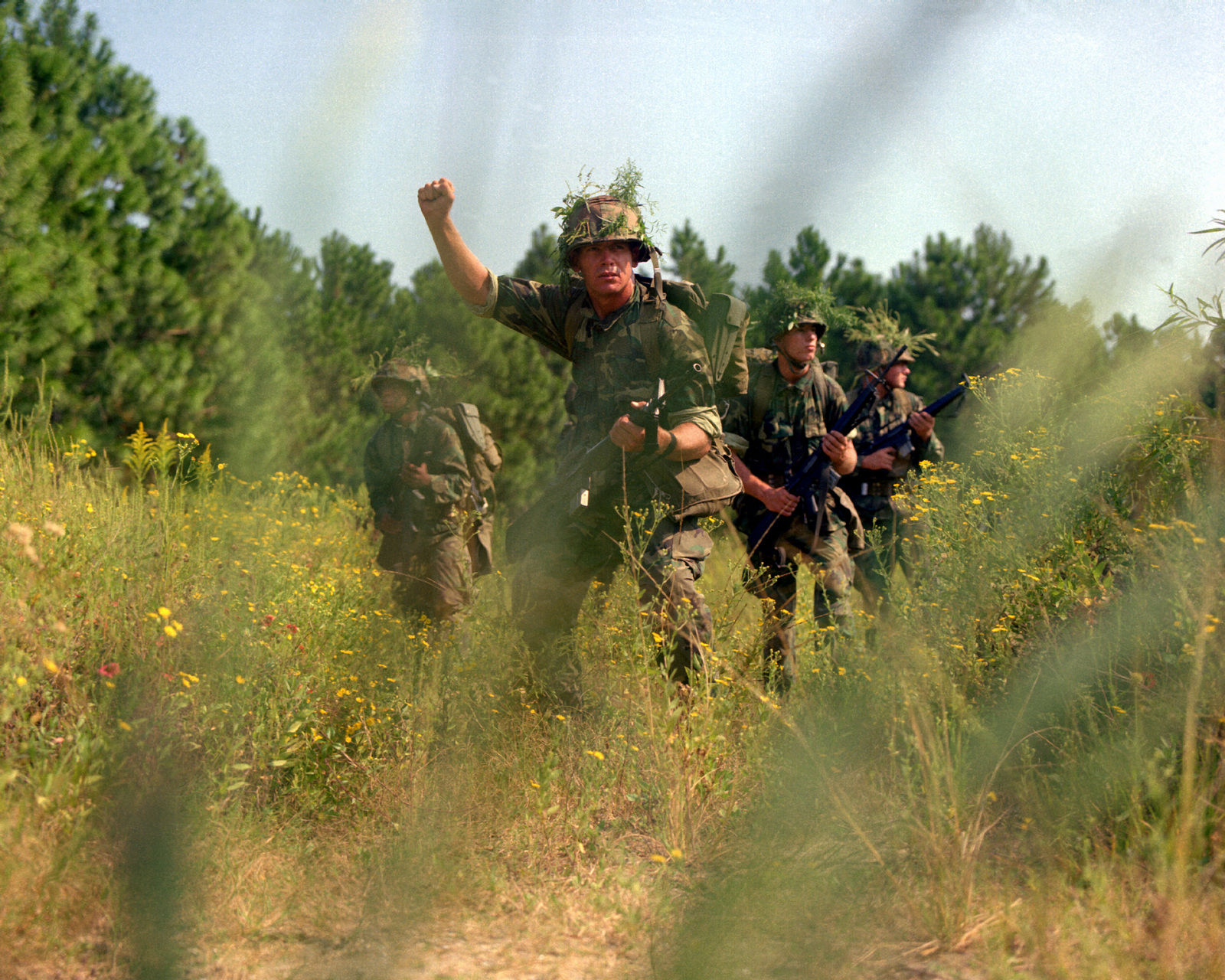 the fire team leader gives the hand signal to halt during a field