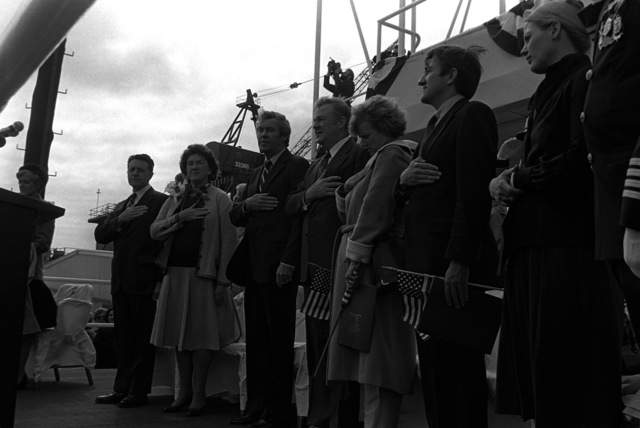 Guests at the launching of the submarine NORFOLK (SSN-714) include Secretary of Defense and Mrs. Caspar Weinberger, left, Norfolk Mayor Vince Thomas, next to Mrs. Weinberger, and Secretary of the Navy and Mrs. John F. Lehman Jr., right. Mrs. Weinberger is sponsor of the submarine, which was built by Newport News Shipbuilding