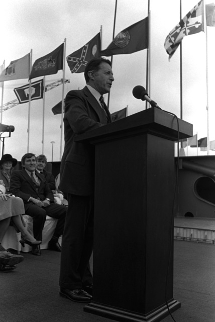 Secretary of Defense Caspar W. Weinberger speaks to the guests during the keel laying ceremony for the nuclear-powered aircraft carrier THEODORE ROOSEVELT (CVN-71) at Newport News Shipbuilding. The ship is slated for delivery early in 1988, and will joint three other nuclear-powered aircraft carriers (CVN-65, -68, AND -69) now in operation