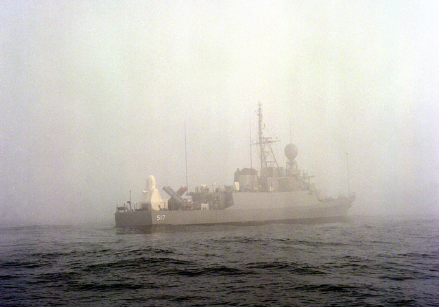Starboard quarter view of the patrol gunboat FAISAL (PGG-517) on a cloudy day. The gunboat is being built by Peterson Builders for the Royal Saudi Navy