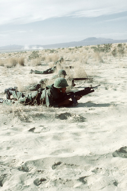 A combat-ready fire team from Co. C, 1ST Bn., 8th Marines, are in the prone position with their M-16A1 rifles, as they prepare to assault an enemy bunker. This is part of Operation CAX 1-2-82, held at the Marine Corps Air-to-Ground Combat Center