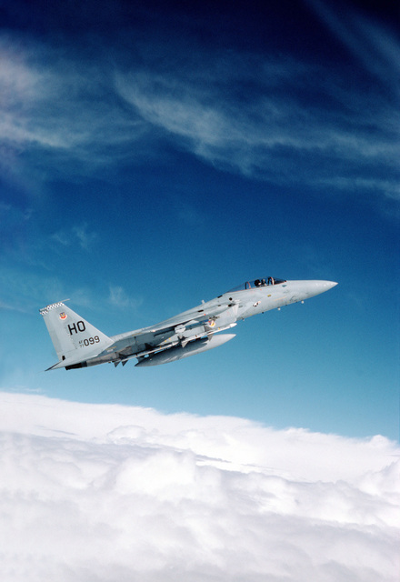 An air-to-air right side view of an F-15 Eagle aircraft assigned to the 49th Tactical Fighter Wing during a training mission out of Holloman Air Force Base