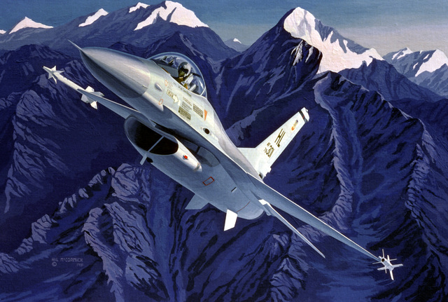 "Artwork: ""F-16A Climbing at Dawn"" Artist: Hal McCormick U. S. Air Force Art Collection"