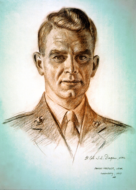 "Artwork: ""LTC James J. Dugan, USMC"" Artist: Dwight Shepler Navy Combat Art Center, Washington Navy Yard"