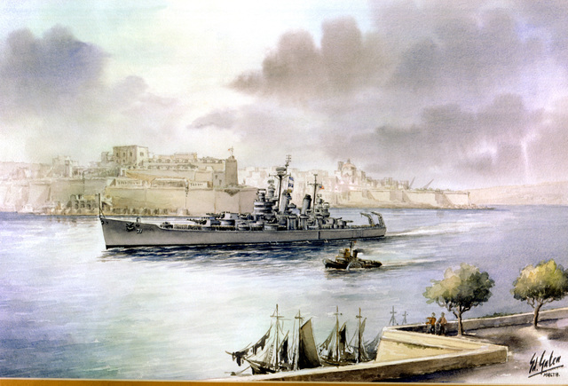 "Artwork: ""USS QUINCY Leaving the Grand Harbor Valletta in February 1945"" Artist: Edwin Galea Catalog Number: 1981. 16 Navy Combat Art Center, Washington Navy Yard"