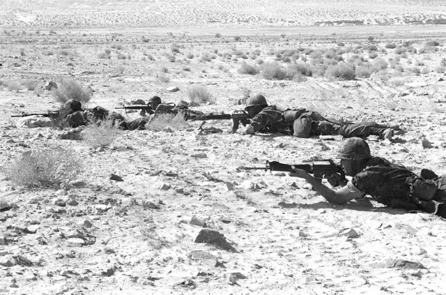 Four Marines from Bravo Company, 1ST Battalion, 8th Marines, are in the prone position with their M-16A1 rifles during an assault. This is a part of Operation CAX-1-2-82