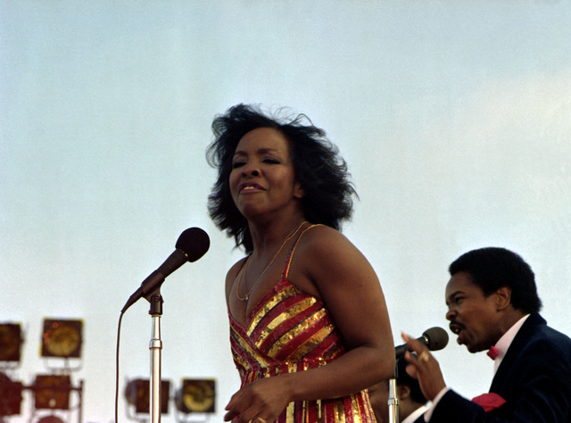 Gladys Knight and the Pips sing during the special Suzanne Somers show aboard the aircraft carrier USS RANGER (CV-61)