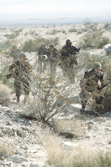 Infantrymen from Co. B, 1ST Bn., 8th Marines, charge up a hill to a bunker during Operation CAX 1-2-82 at the Marine Corps Air-to-Ground Combat Center
