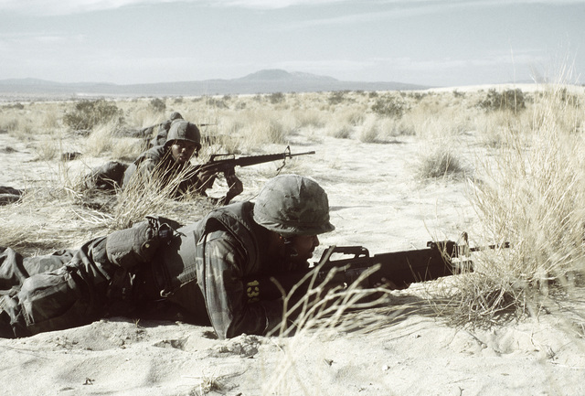 Members of Co. M, 3rd Bn., 2nd Marines, are on line in the prone position during assault on an enemy bunker. The assault took place during Operation CAX 1-2-82 at the Marine Corps Air-to-Ground Combat Center