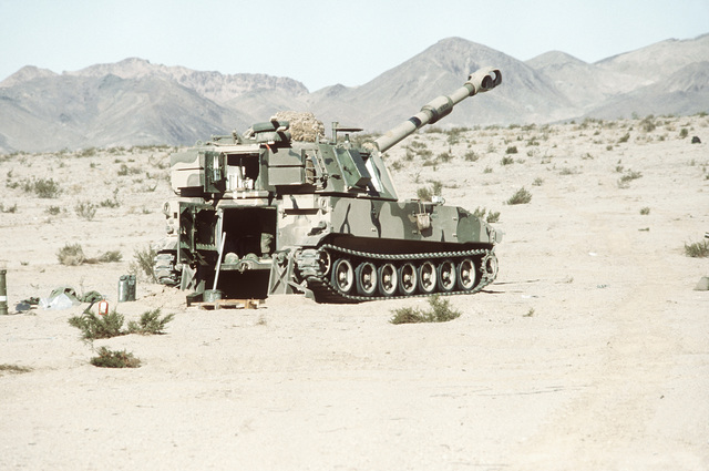 One of the M-109 155mm self-propelled howitzers used by the 2nd Marine Division during Operation CAX 1-2-82, held at the Marine Corps Air-to-Ground Combat Center